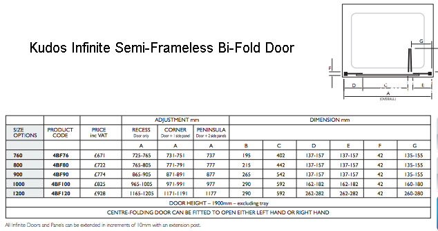 Kudos Infinite Silver 800mm Semi-Frameless Bi-Fold Sliding Shower Door