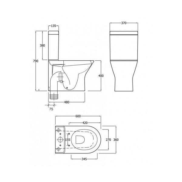 Mini Wc rak resort mini coupled rimless wc toilet with seat