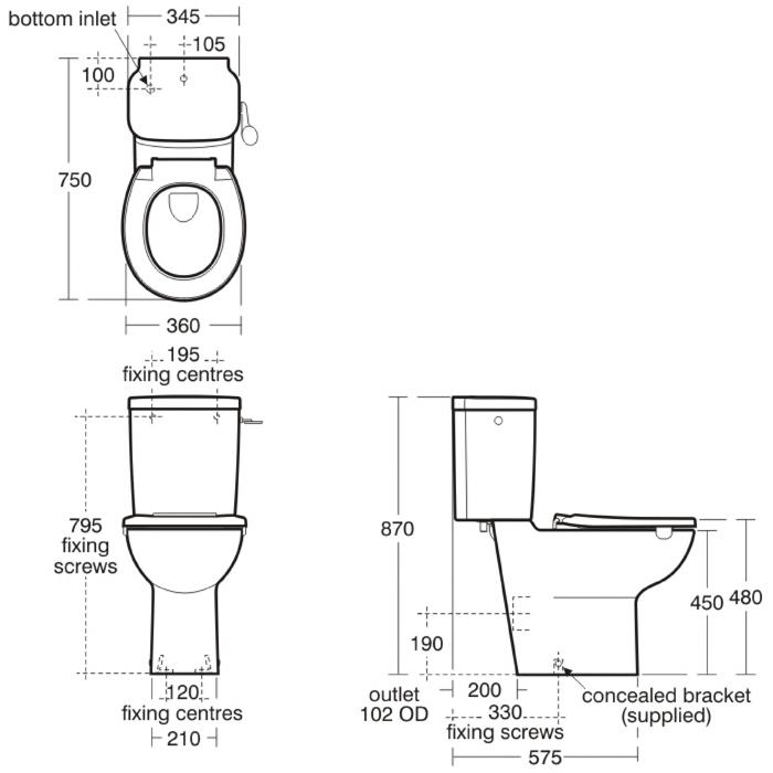 standard toilet bowl dimensions. Ideal Standard Contour Box Rim Close Coupled Toilet Pan Marvelous Bowl Dimensions Pictures  Best